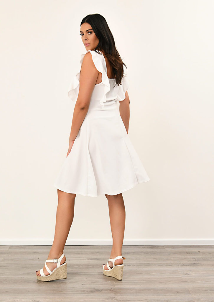 Pink Clove Cream Ruffle Skater Dress view 3