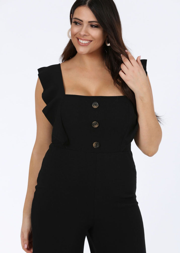 Pink Clove Black Frill Horn Button Sleeveless Jumpsuit view 3