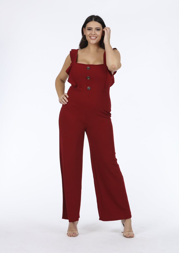 Plus Size Wine Frill Horn Button Sleeveless Jumpsuit view main view