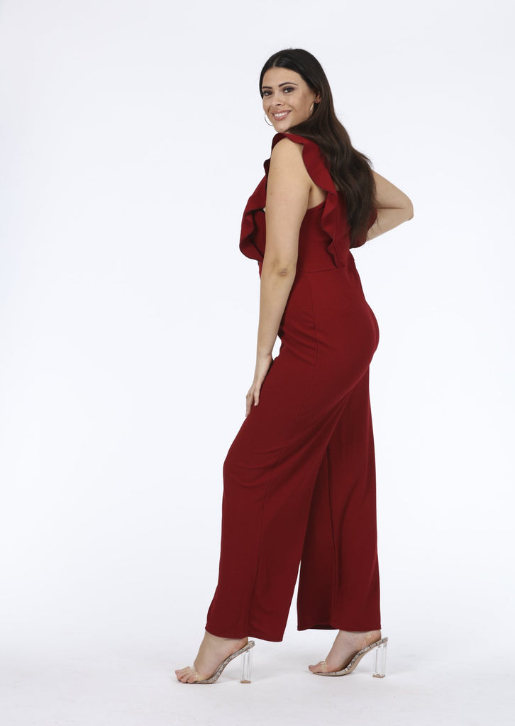 Plus Size Wine Frill Horn Button Sleeveless Jumpsuit view 4