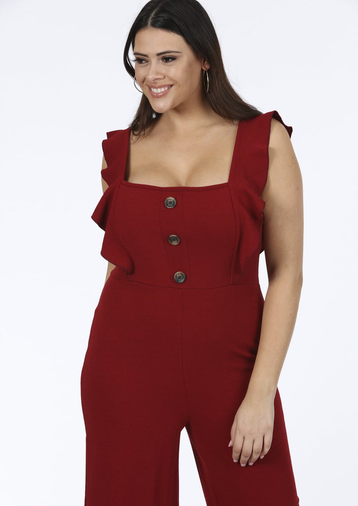 Plus Size Wine Frill Horn Button Sleeveless Jumpsuit view 2