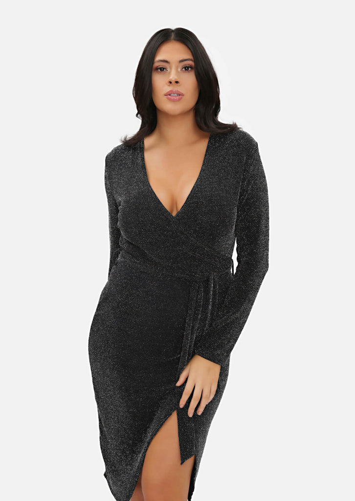 Pink Clove Black Long Sleeve Lurex Tie Front Wrap Dress