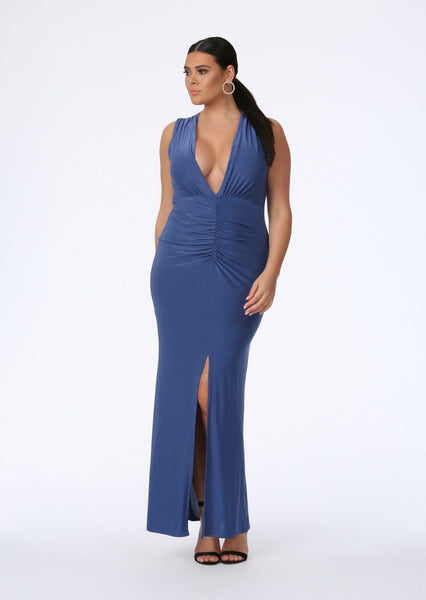 5c31106ecf7 plus size blue plunge front maxi dress
