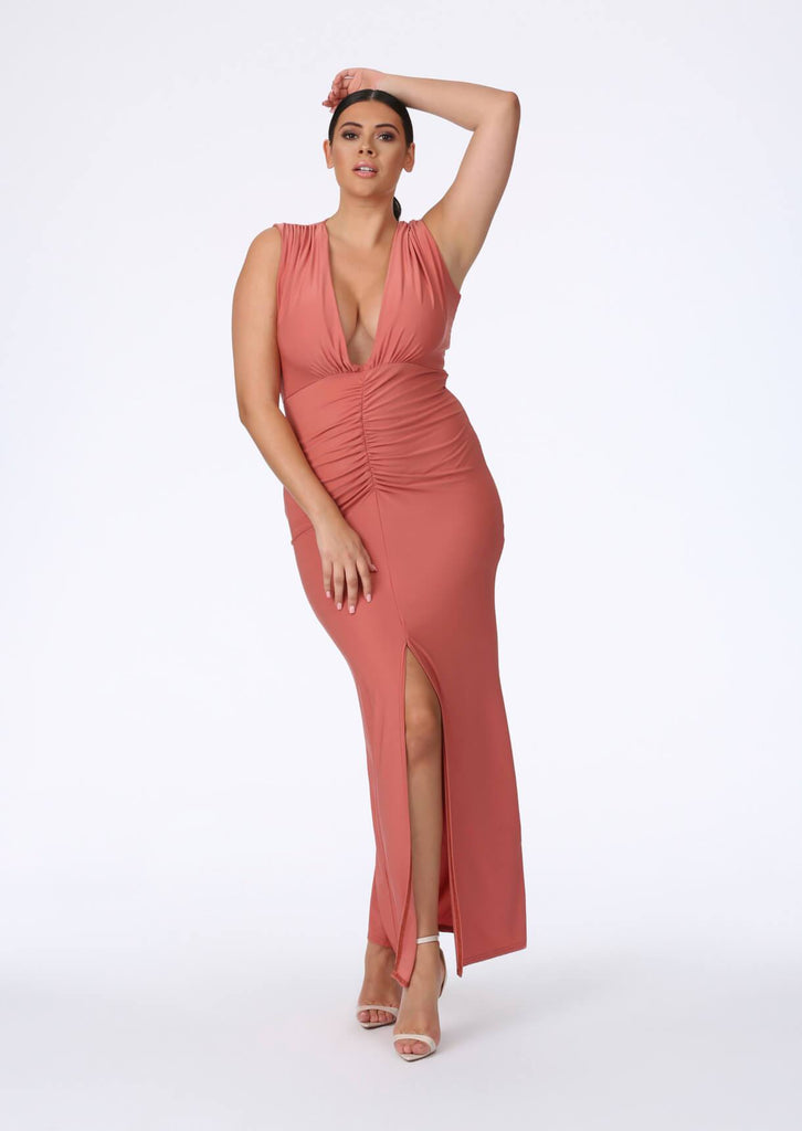 Rose Plunge Front Maxi Dress 1