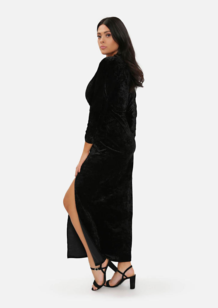 Pink Clove Black Crush Velvet Wrap Over Split Maxi Dress view 3