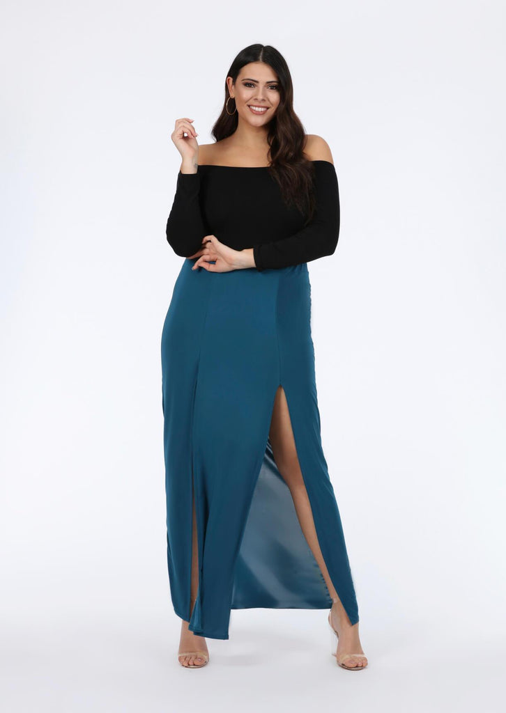 Pink Clove Teal Double Split Maxi Skirt