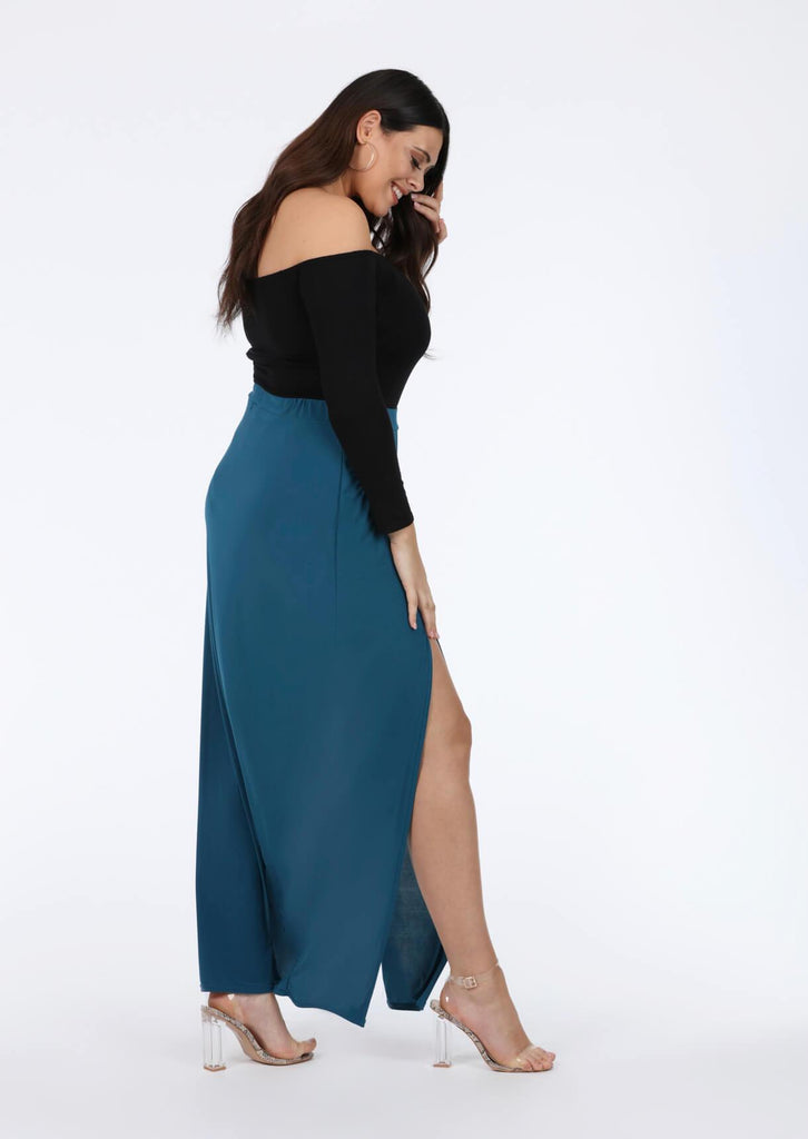 Plus Kalila Teal Double Split Maxi Skirt view 2