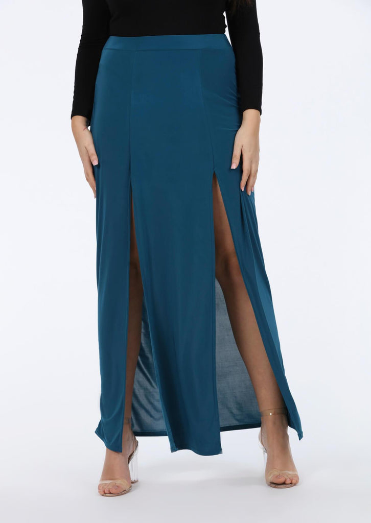 Plus Kalila Teal Double Split Maxi Skirt view 4
