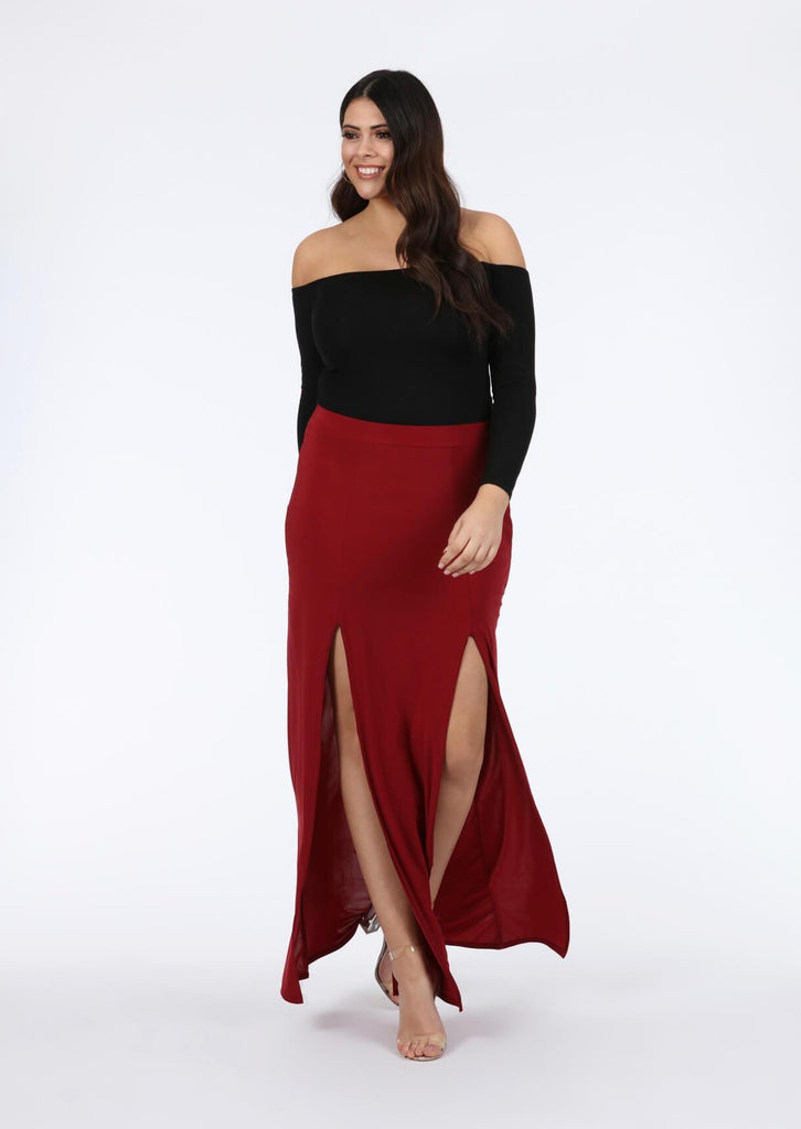 Plus Kalila Double Split Maxi Skirt in Wine
