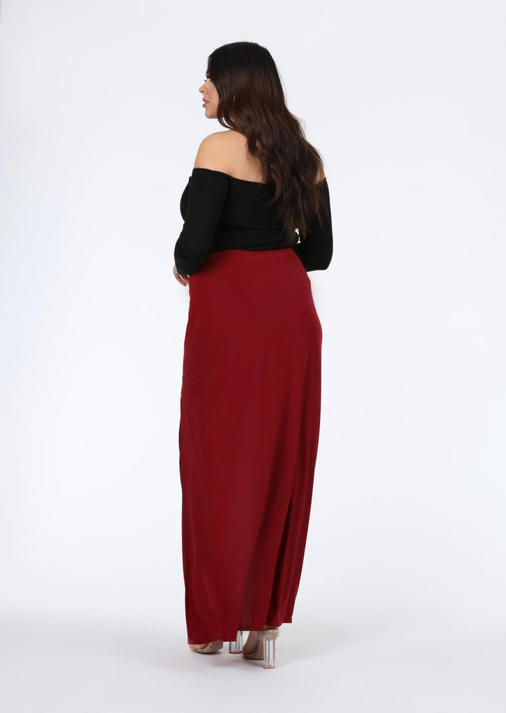 Pink Clove Wine Double Split Maxi Skirt view 2