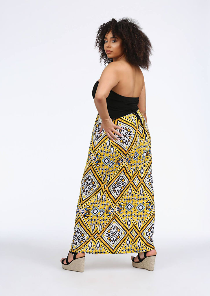 Yellow Bandeau Maxi Dress 2 view 2