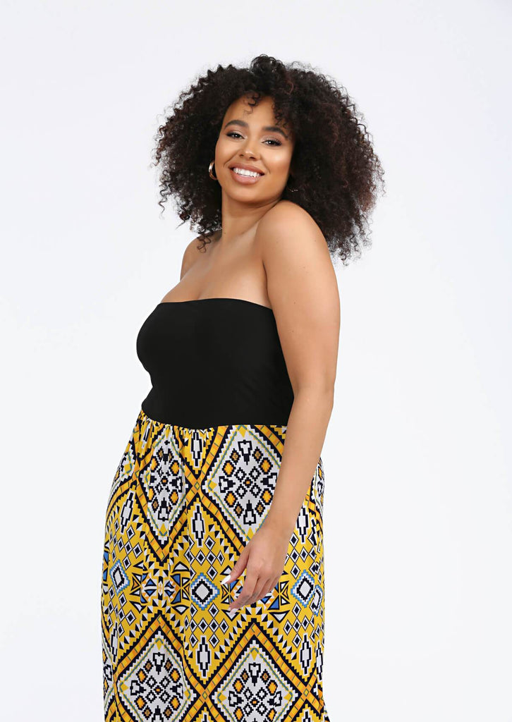 Yellow Bandeau Maxi Dress 4 view 4