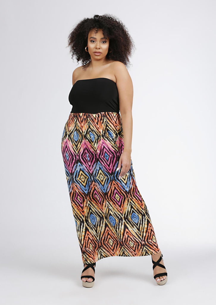 Black Geo Bandeau Maxi Dress 1 view main view