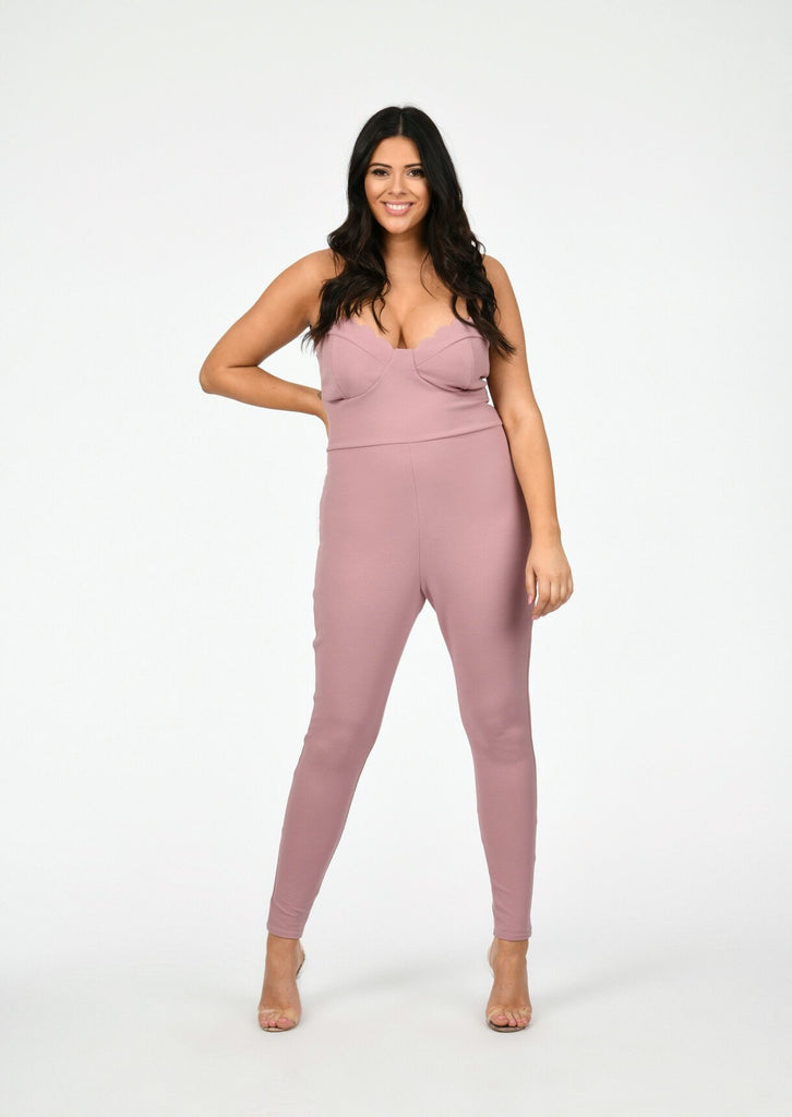 Pink Clove Scallop Edge Bust Panel Jumpsuit in Pink