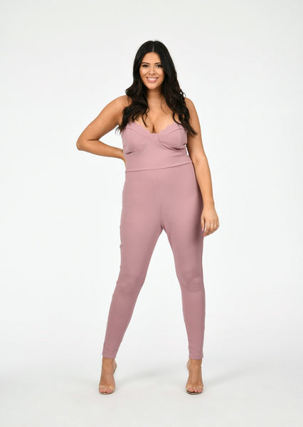 f40c3d6b20e plus renata scallop edge bust panel jumpsuit in pink