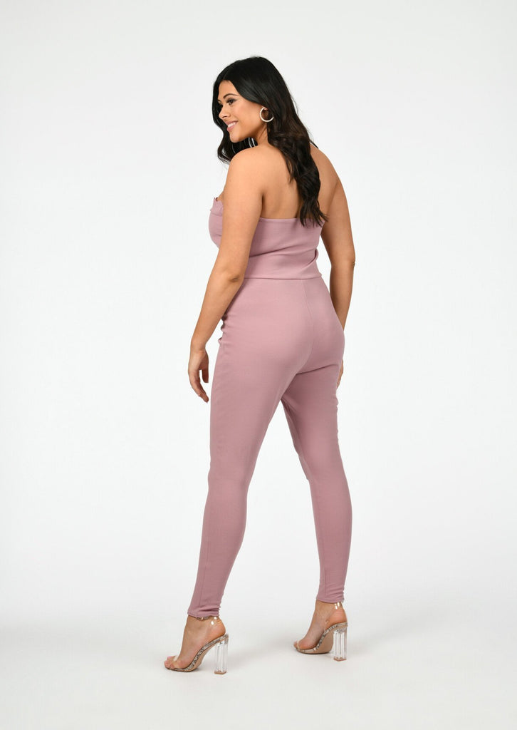 Pink Clove Scallop Edge Bust Panel Jumpsuit in Pink view 3