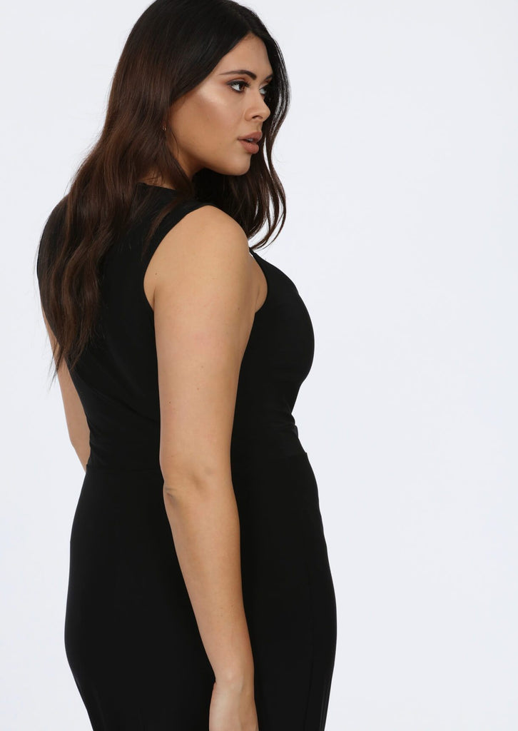Plus Size Strappy Black Plunge V-Neck Maxi Dress view 2