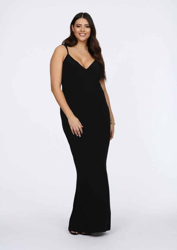 Plus Size Strappy Black Plunge V-Neck Maxi Dress