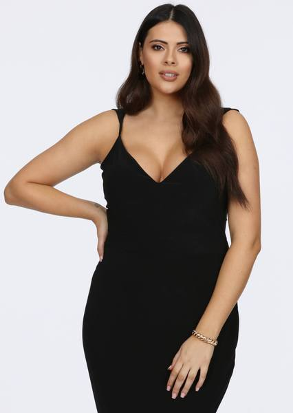 Plus Size Yalonda Strappy Plunge Maxi Dress in Black view 4