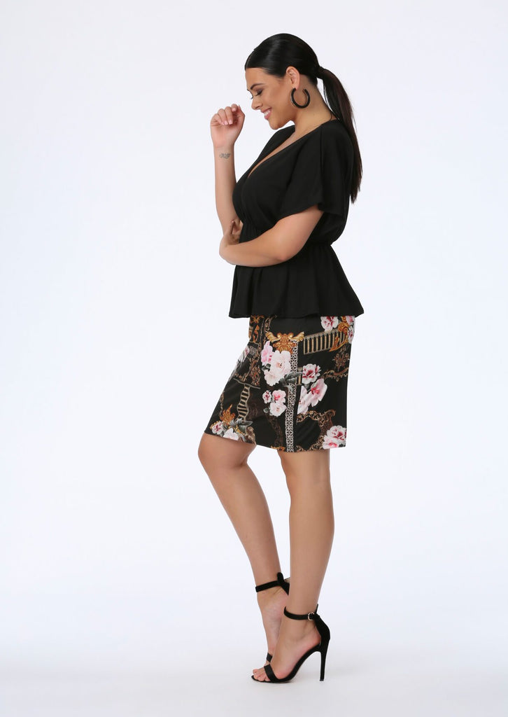 Black Luxe Midi Skirt 2 view 2