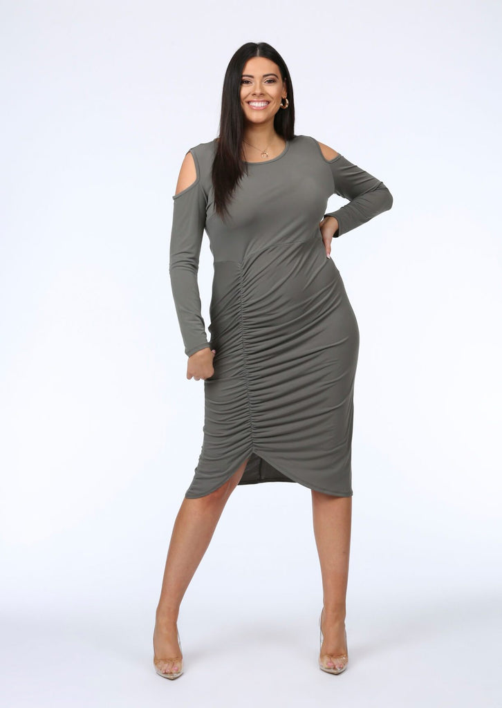 Plus Tamera Cut Out Shoulder Ruched Dress in Khaki