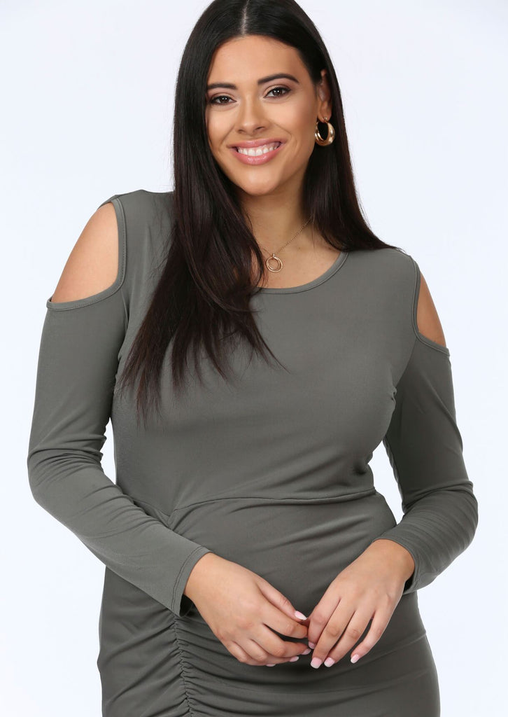 Plus Tamera Cut Out Shoulder Ruched Dress in Khaki view 3