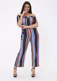 Plus Celia Bardot Jumpsuit with Waist Belt in Stripe