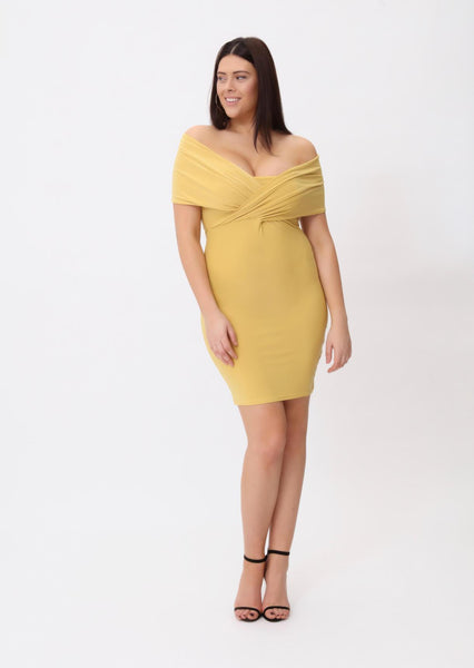 Plus Denise Off the Shoulder Wrap Front Bardot Dress in Sand