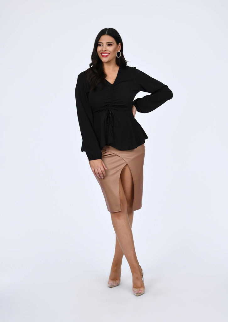 Plus Size Woven Ruched Front Peplum Smock Top in Black view 4