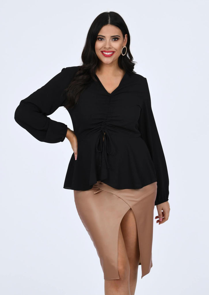 Plus Size Woven Ruched Front Peplum Smock Top in Black