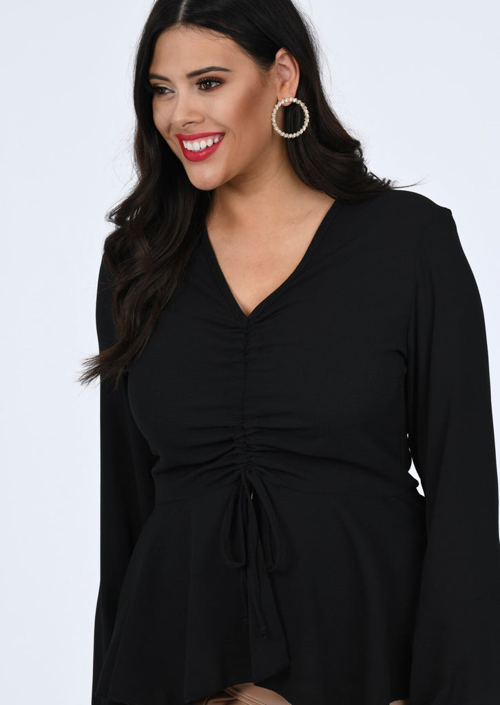 Plus Ishawna Woven Ruched Front Peplum Smock Top in Black view 3