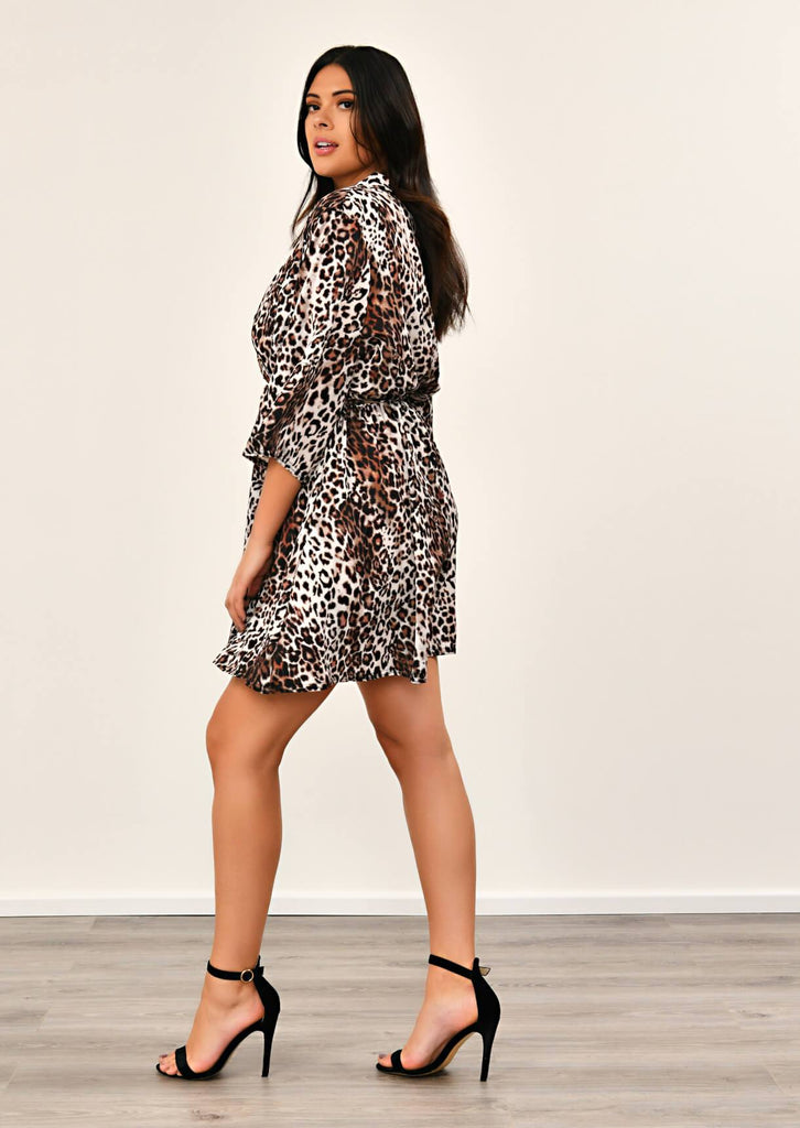 Pink Clove Leopard Print Kimono Sleeve V Neck Dress view 2