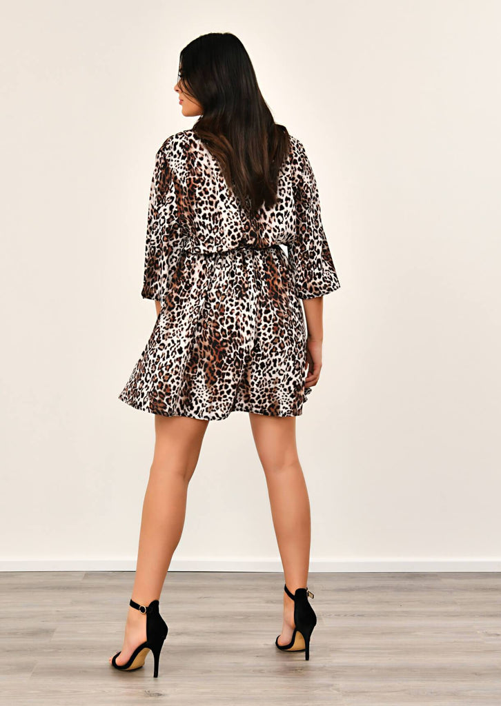 Pink Clove Leopard Print Kimono Sleeve V Neck Dress view 3
