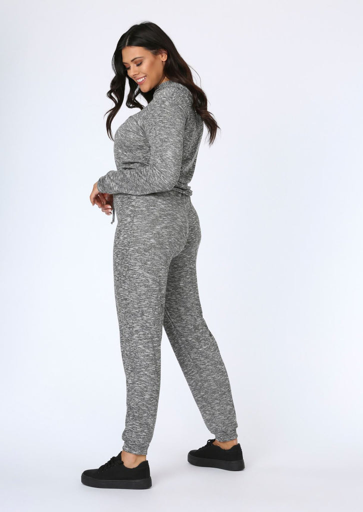 Plus Size Knitted Jogger in Grey