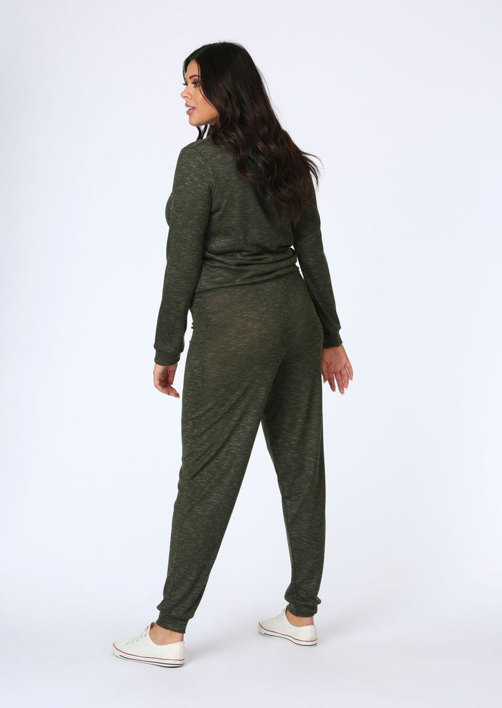 Plus Size Knitted Jogger in Khaki view 2