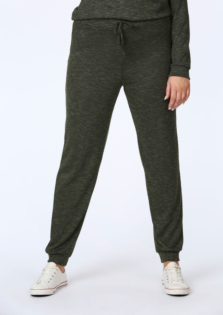 Plus Size Knitted Jogger in Khaki view 3