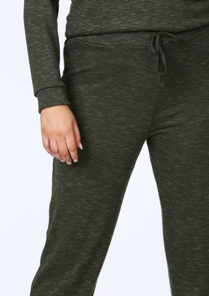 Plus Size Knitted Jogger in Khaki view 4