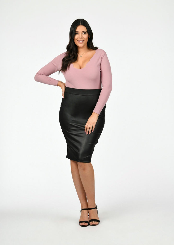 Plus Size Plunge Neck Laser Cut Bodysuit in Pink view 2