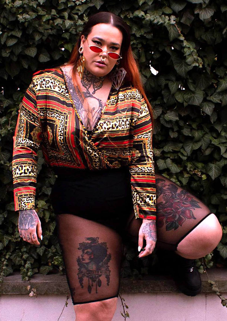 Plus Size Leopard Chain Long Sleeve Bodysuit