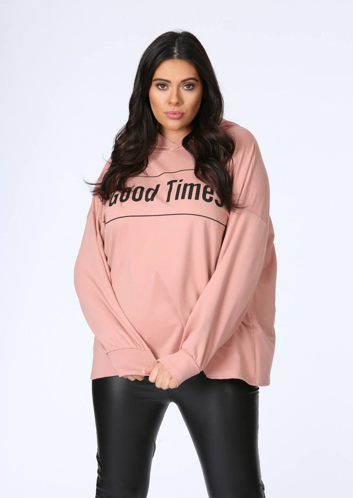 Plus Size Good Times Oversized Hoody in Pastel Pink view 2
