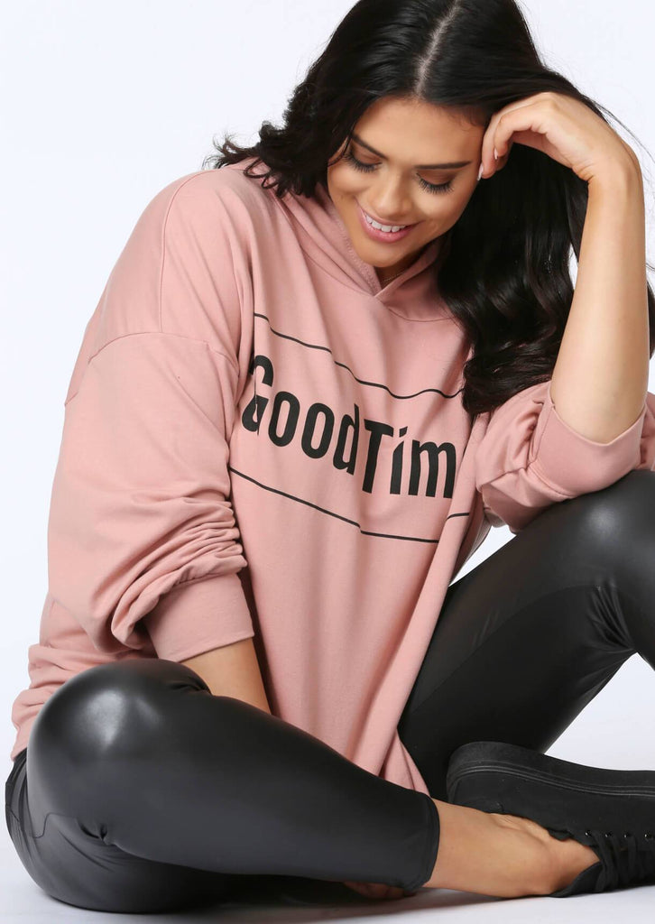 Plus Size Good Times Oversized Hoody in Pastel Pink
