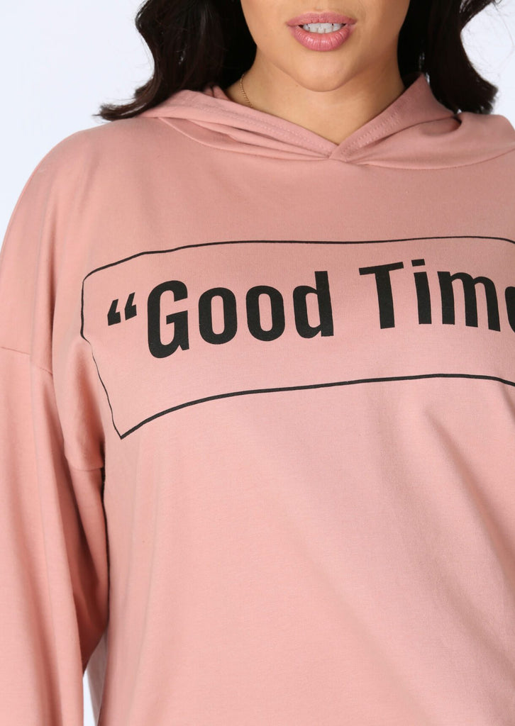 Plus Size Good Times Oversized Hoody in Pastel Pink view 3