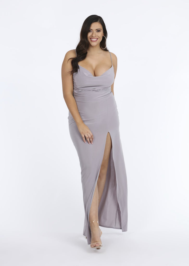 Pink Clove Cowl Neck Grey Sleeveless Slinky Maxi Dress view main view