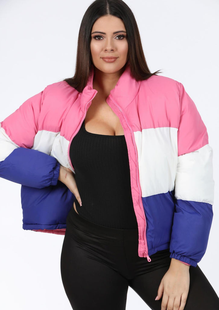 Pink Clove Block Colour Boxy Puffer Jacket