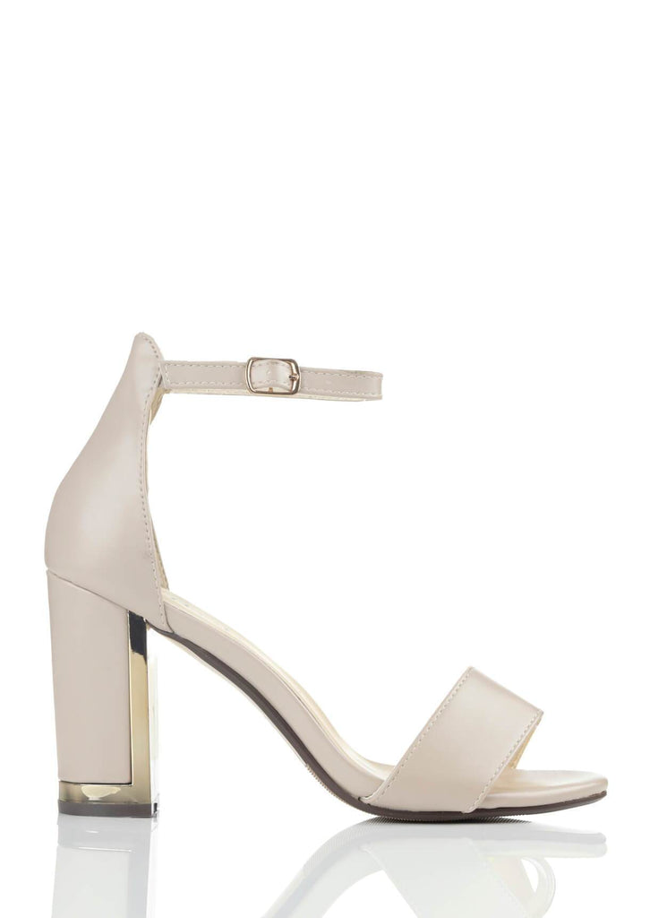 Wide Fit Nude Suede Ankle Strap Chunky High Heels view 2