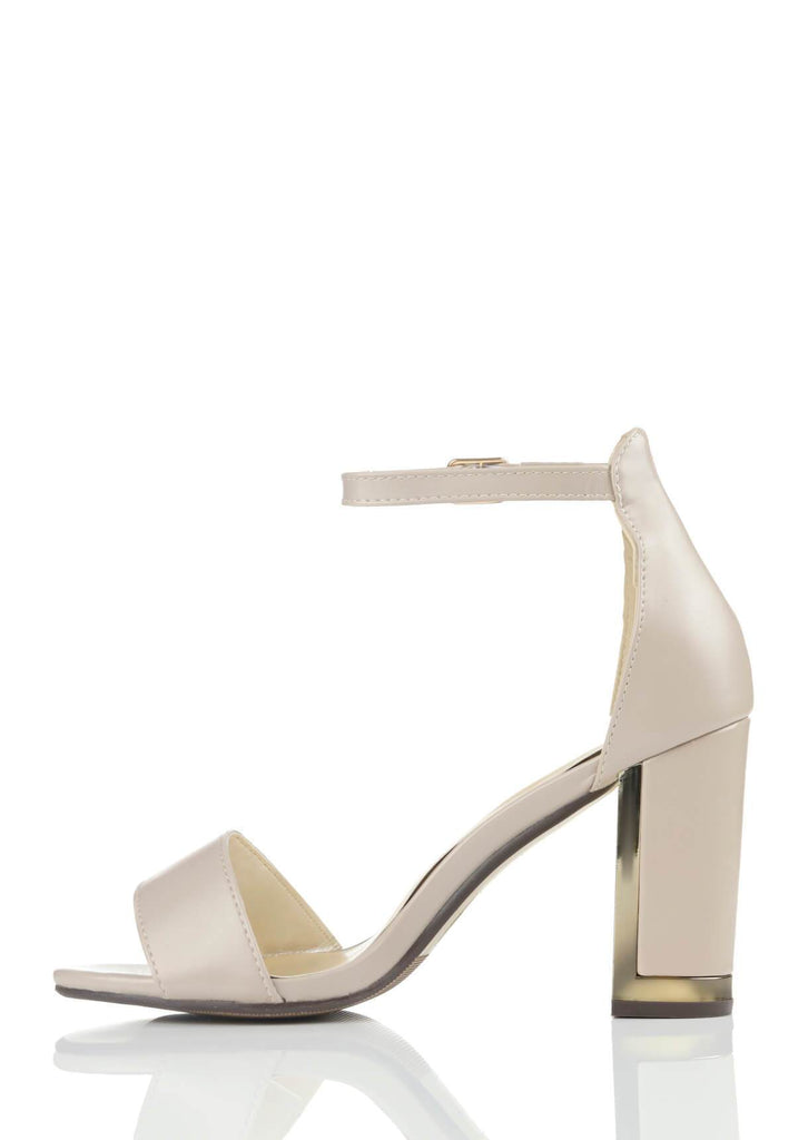 Wide Fit Nude Suede Ankle Strap Chunky High Heels view 3