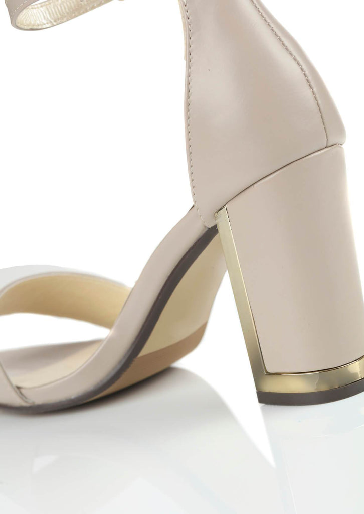 Pink Clove Wide Fit Nude Suede Ankle Strap Chunky High Heels view 4