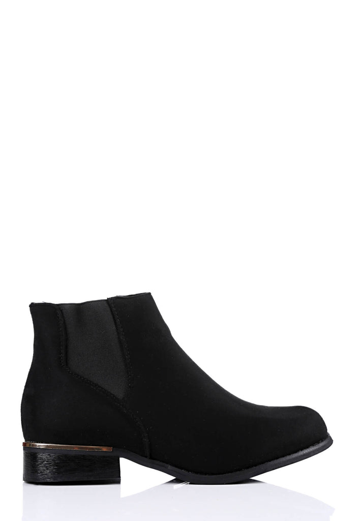 Pink Clove Wide Fit Black Chelsea Boot Suede