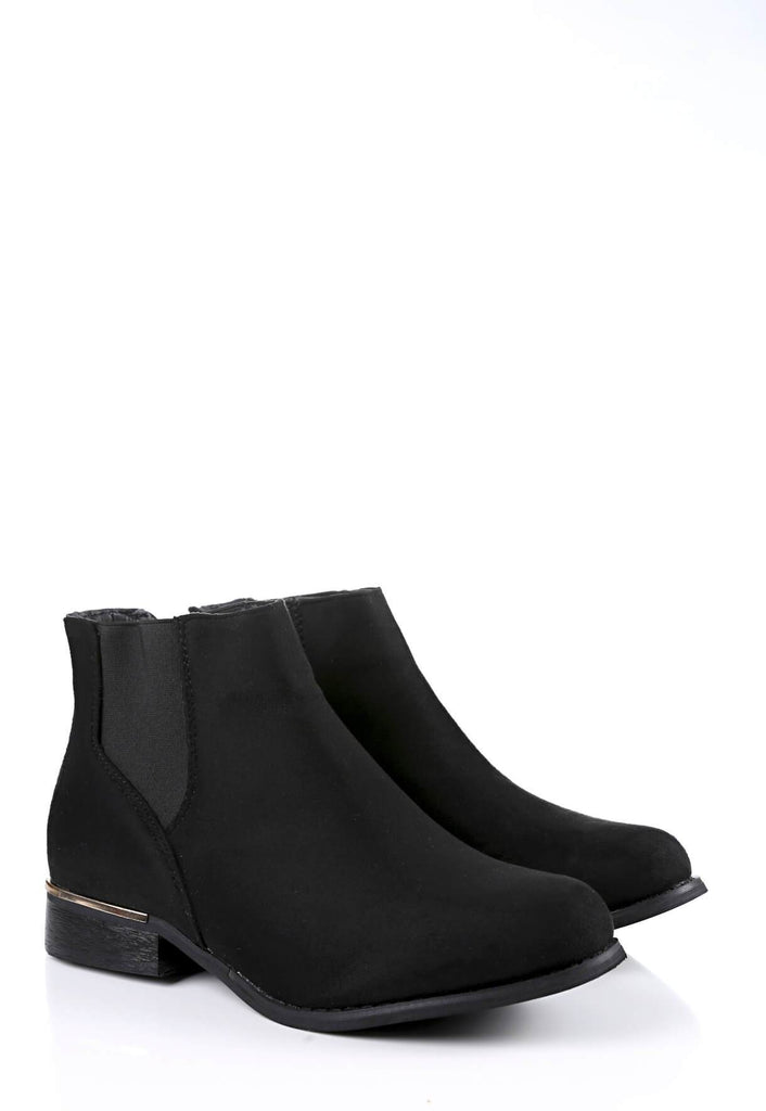 Pink Clove Wide Fit Black Chelsea Boot Suede view 3