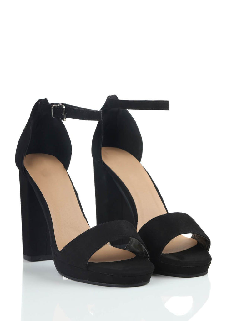 Pink Clove Wide Fit Black Suede Ankle Strap Block Heels